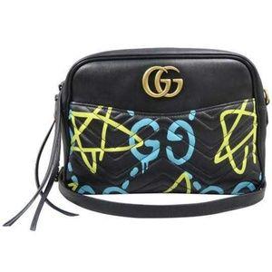 Gucci Ghost Marmont Gg Camera Black Crossbody Bag
